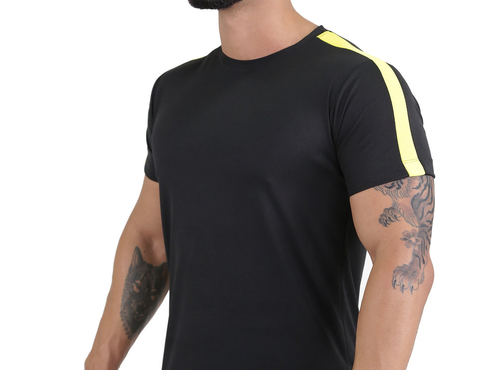 Camiseta Track Dry Fit Academia Running Atletico Swag Preto com Amarelo