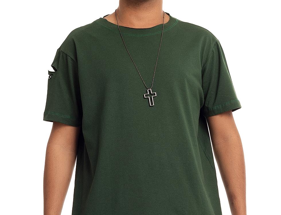 Camiseta Longline Oversized Destroyed Rasgada Barra Redonda Verde