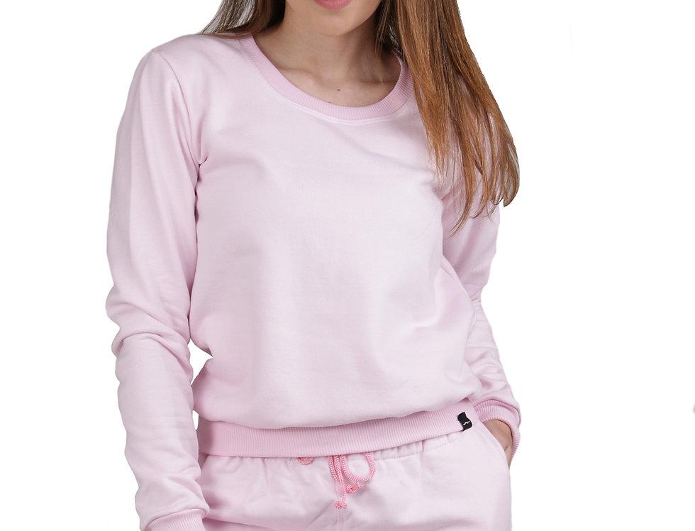 Moletom Conjunto Feminino Básico Cropped Careca E Calça Rosa