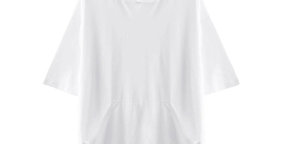 Blusão Camisa Básica Capuz com Cordão 100% Algodão Meio Swag Branca