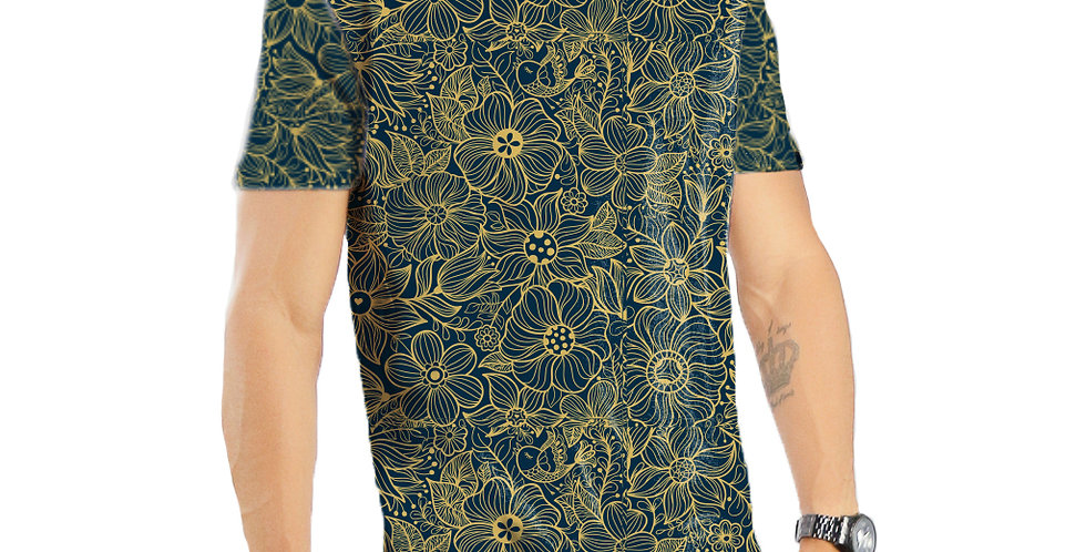 Camiseta Oversized Redonda Swag Estampa Total Floral 06