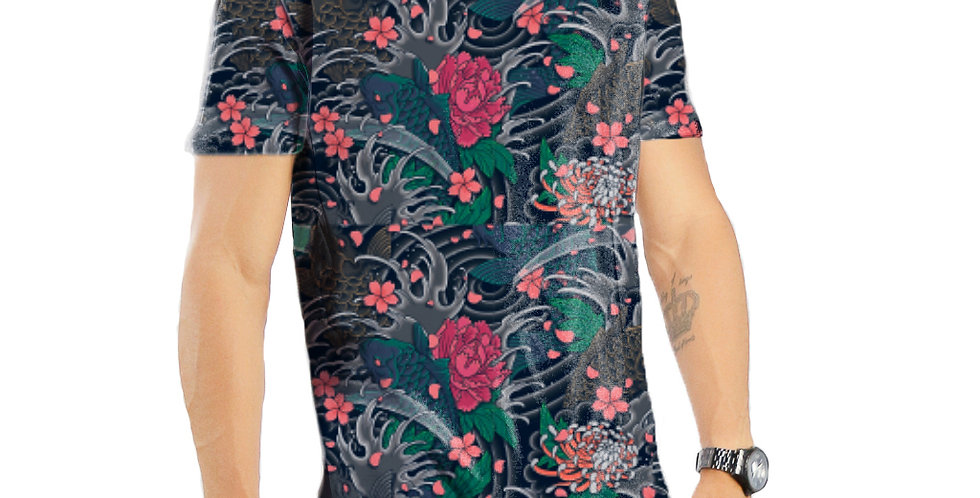 Camiseta Oversized Redonda Swag Estampa Total Floral 01