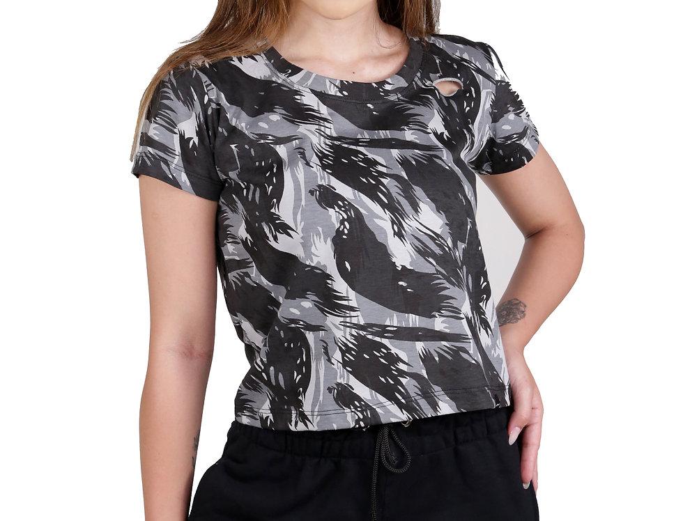 Blusinha Camisa Camuflada Destroida Destroyd Tshirt Feminina Cinza