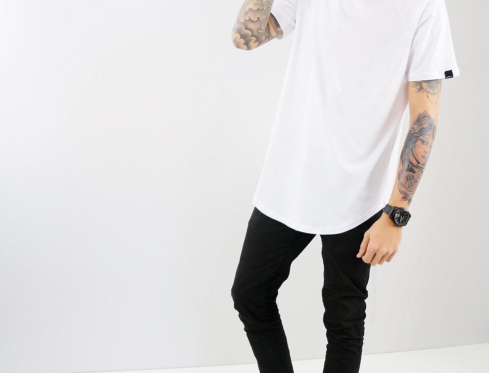 Camiseta Raglan Oversized Manga Curta Algodão Branca