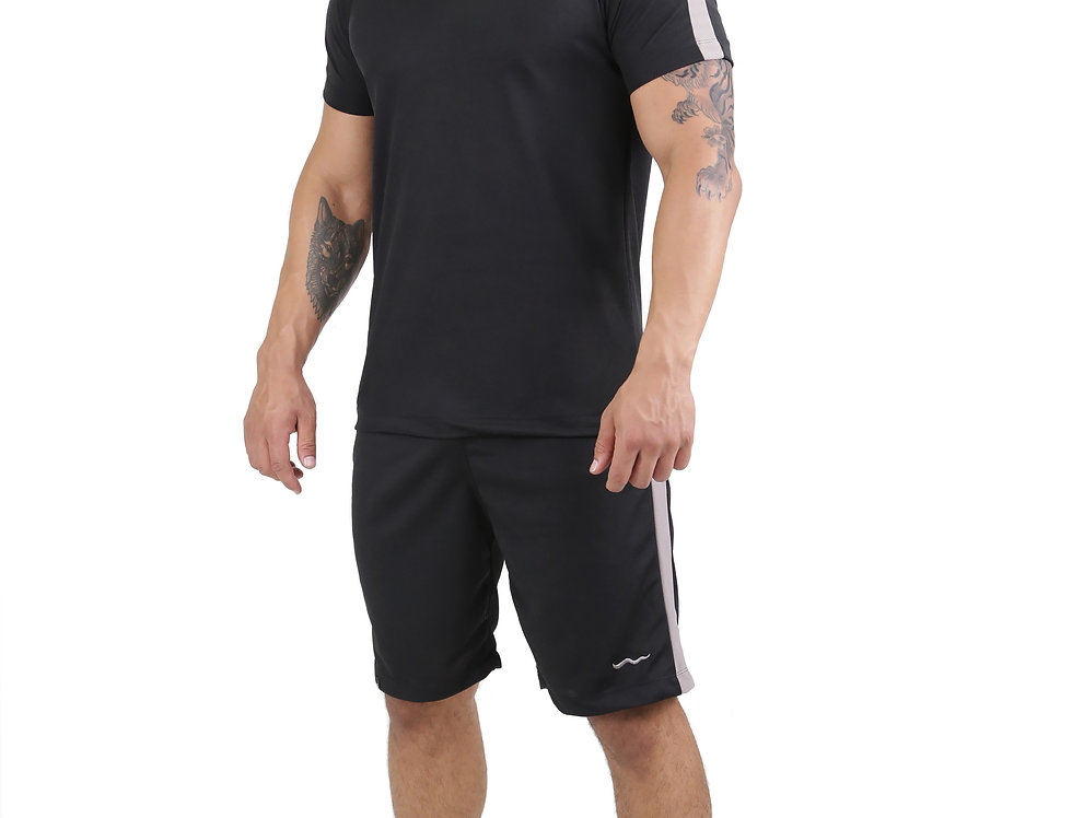 Conjunto Dry Fit Academia Camisa E Bermuda Running Atletico Preto com Cinza