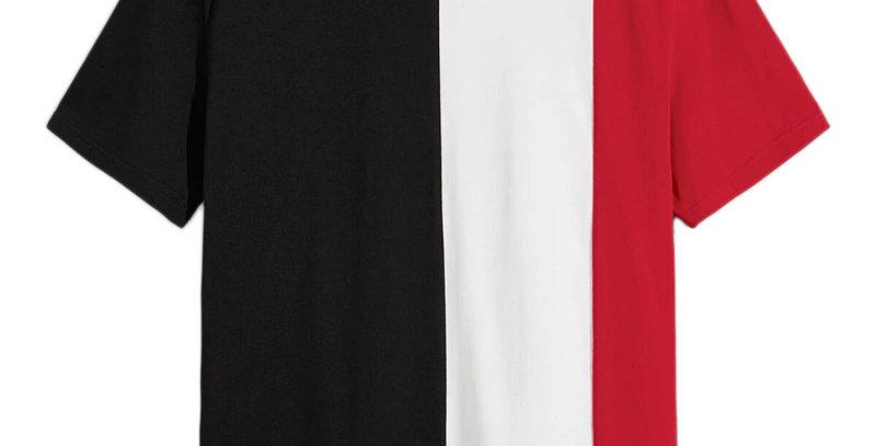 Camiseta Recorte 3 Cores Premium Básica 100% Algodão Meio Swag