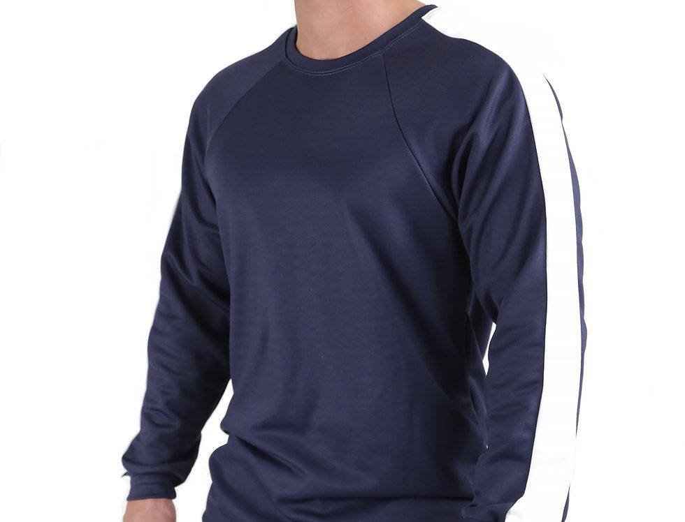 Blusa Listra Lateral Colegial Fitness Meio Swag Azul com Branco