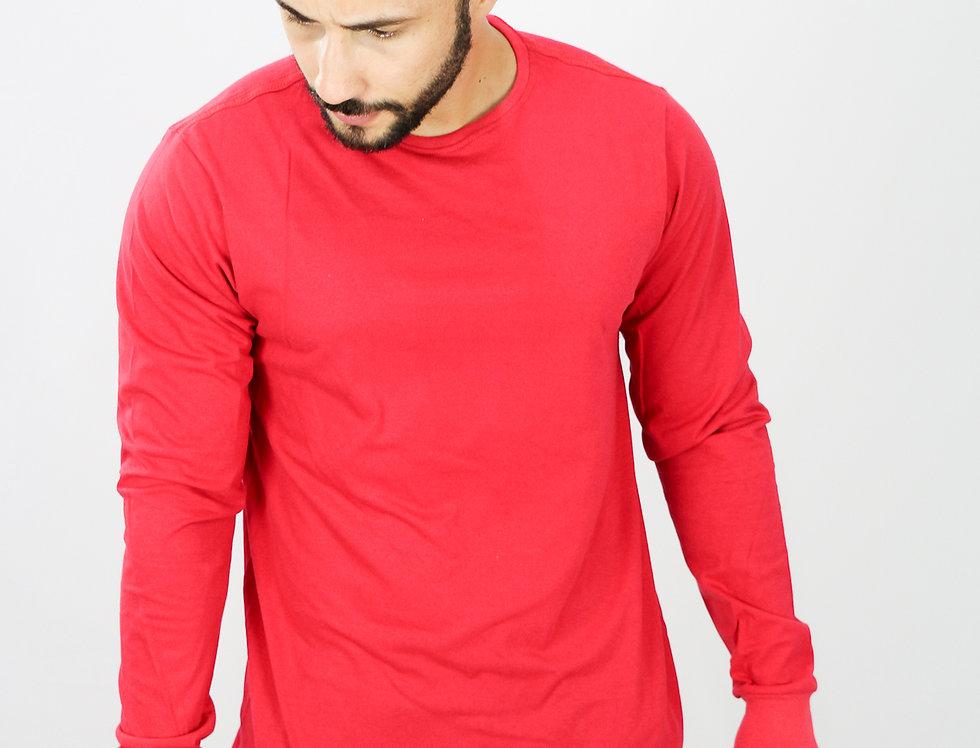 Camisa Basica Manga Comprida Manga Longa 100% Algodão Vermelho