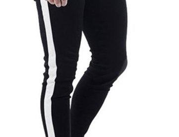 Calça Listrada  Faixa Masculina Track Pants Colegial Moletom