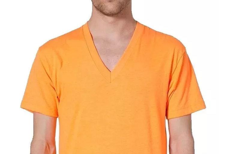 Camisa Básica Lisa Gola V Funda 100% Algodão Amarela