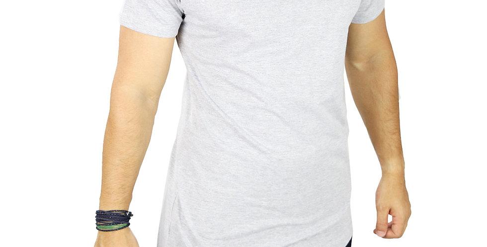 Camiseta Oversized Longline Manga Curta Barra Lateral Cinza