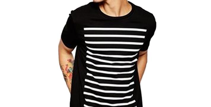 Camiseta Linhas Horizontais Retangulares 100% Algodão Meio Swag Preta