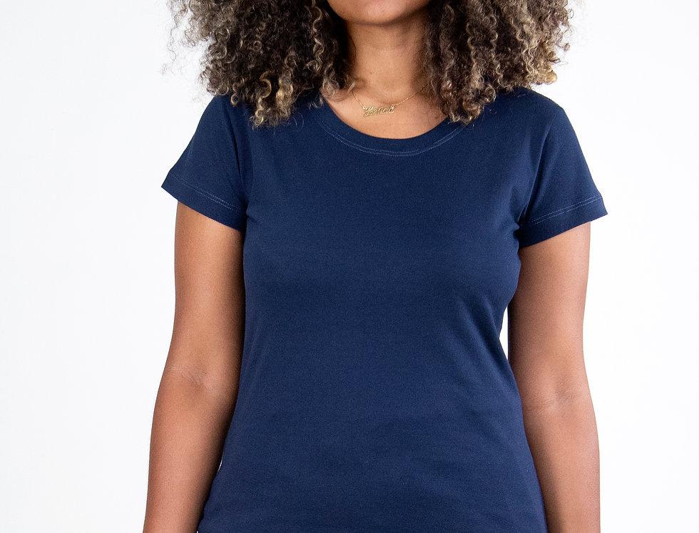 Camiseta Básica Gola Redonda 100% Algodão Azul Marinho