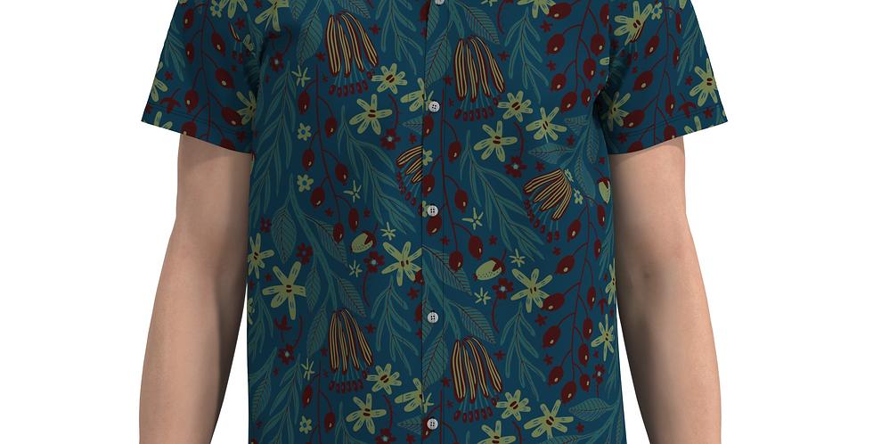 Camisa Estampa Total Flores Tropical De Botão Manga Curta