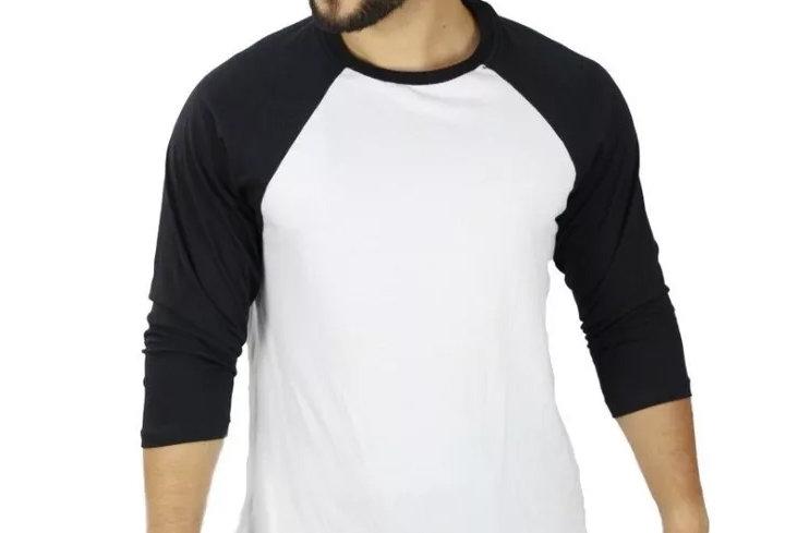 Camiseta Raglan 3/4 Básica 100% Algodão Barra Reta Preto no Branco