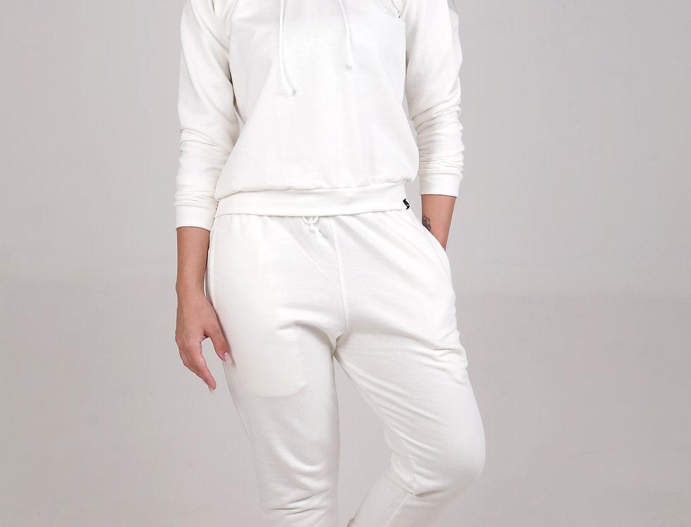 Conjunto Feminino Moletom Básico Croped com Capuz e Calça Branco