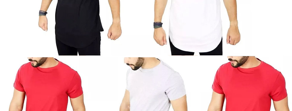 Kit 5 Camisetas Oversized Longline Redonda Swag 100% Algodão