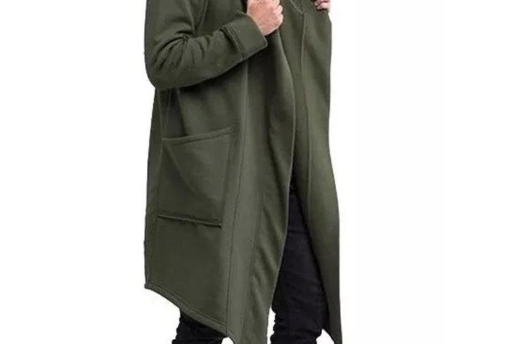 Cardigan Casaco Com Capuz Moletom Masculino Sobretudo Exotic Verde Musgo