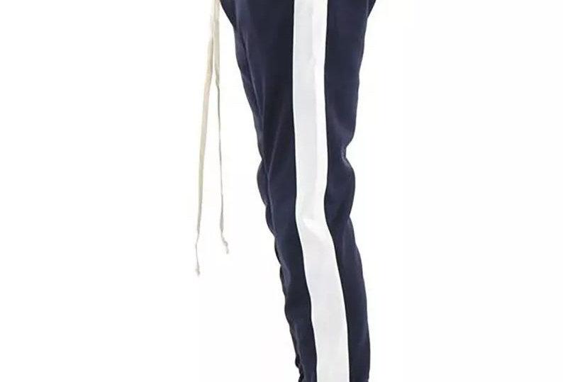 Calça Track Pants Colegial Fitness Branco no Azul Marinho