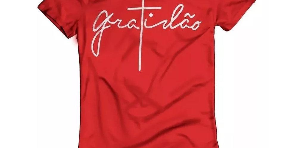 Camiseta Oversized Longline Estampa Gratidão Barra Redonda Vermelha