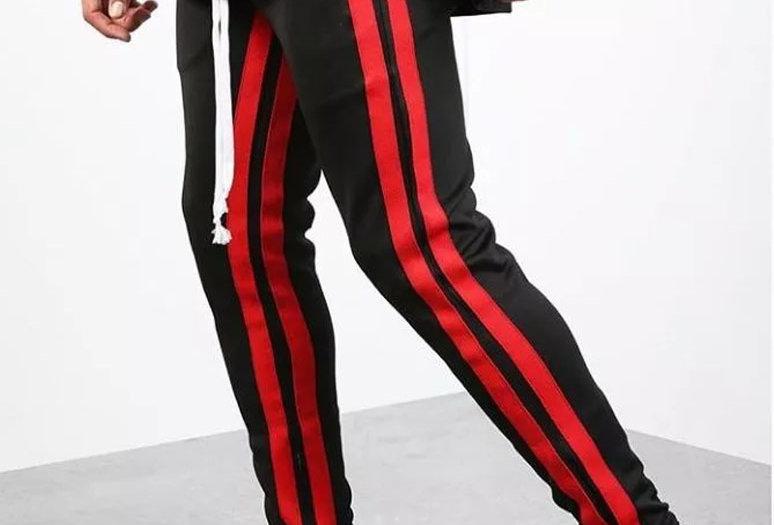 Calça Listrada Track Pants Double Vermelho no Preto