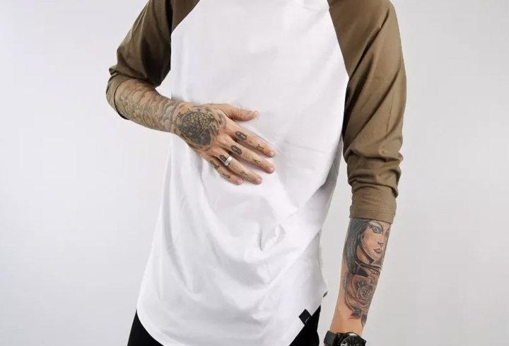 Camiseta Longline Oversized Raglan 3/4 Básica 100% Algodão Marrom no Bra