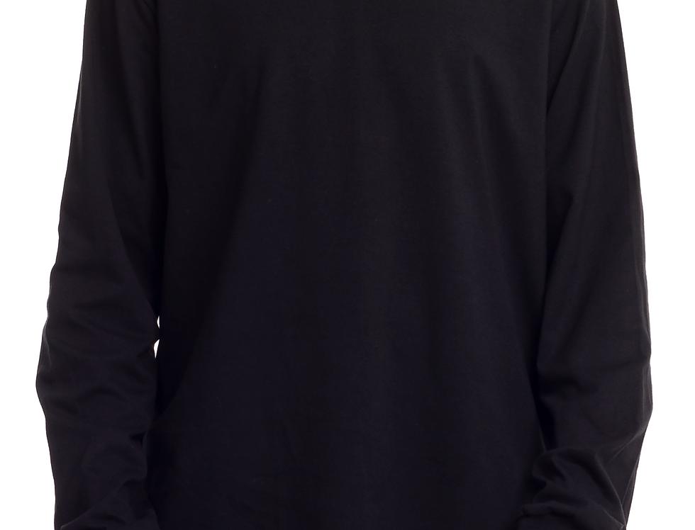 Camisa Longline Oversized Redonda Manga Longa Punho No Dedo Preta