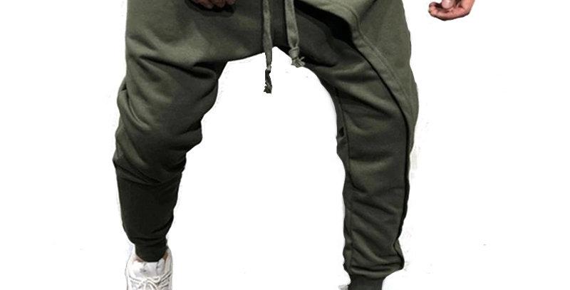 Calça Moletom Camadas Sobrepostas 100% Algodão Fitness Verde
