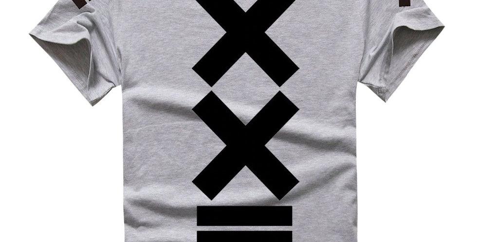 Camiseta Estampa X 100% Algodão Tradicional Cinza
