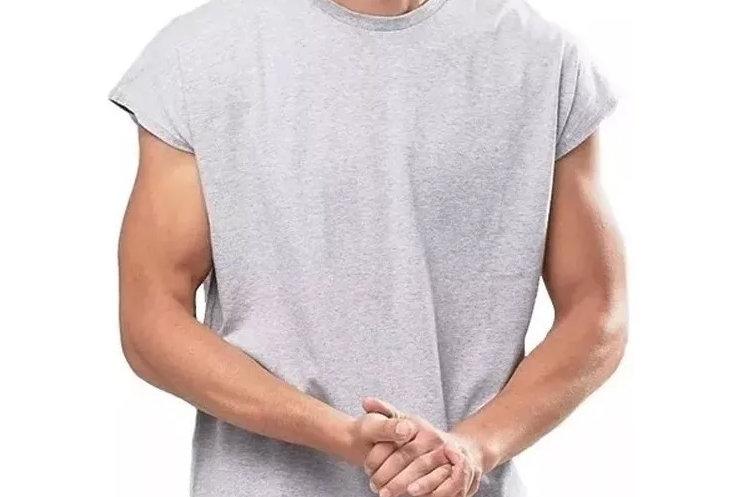 Camiseta Sem Manga Oversized Longline Reta Algodão Meio Swag Cinza