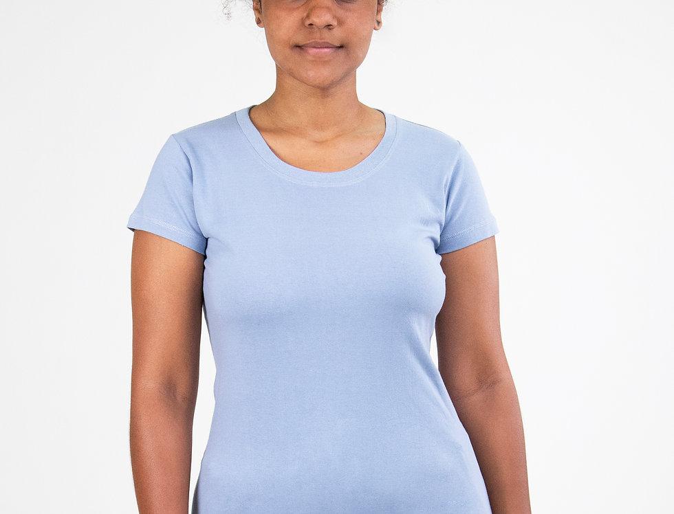 Camiseta Básica Gola Redonda 100% Algodão Azul Claro