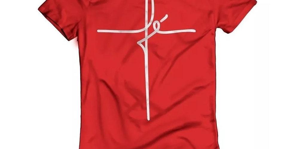 Camiseta Oversized Longline Estampa Fé Barra Redonda Vermelho