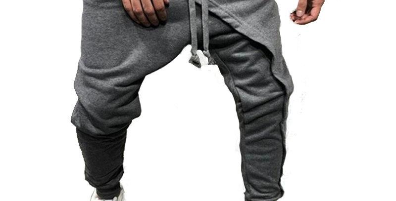 Calça Moletom Camadas Sobrepostas 100% Algodão Fitness Cinza