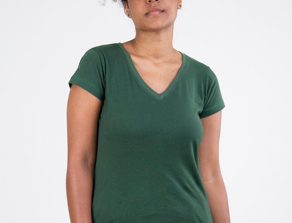 Camiseta Básica Gola V 100% Algodão Verde