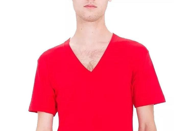 Camisa Básica Lisa Gola V Funda 100% Algodão Vermelha