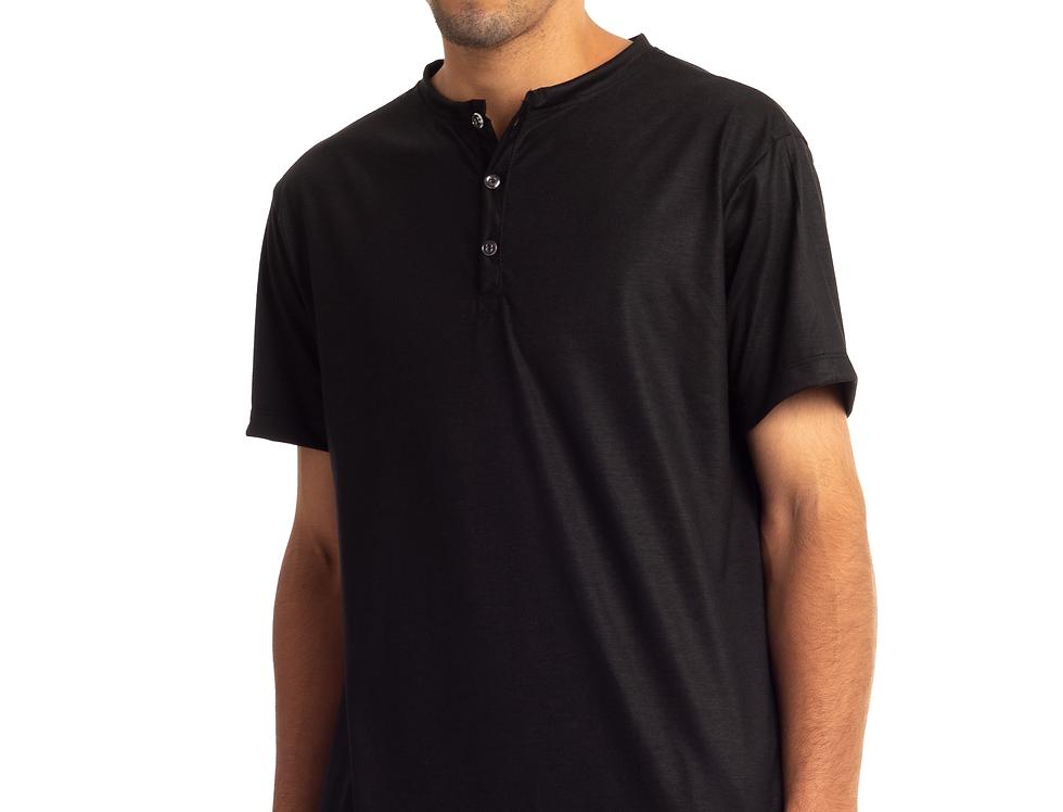 Camisa De Botão Henley Gola Portuguesa Slim Masculina Básica Preta