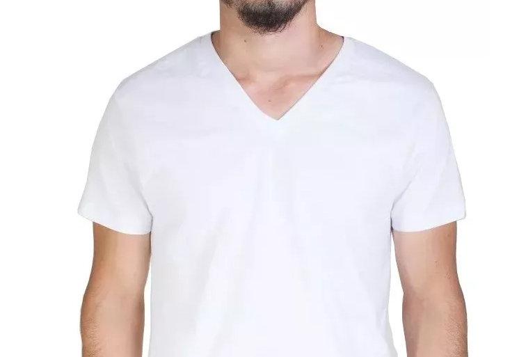 Camisa Básica Lisa Gola V Funda 100% Algodão Branca