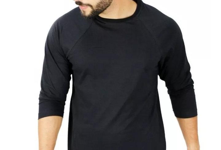 Camiseta Raglan 3/4 Básica 100% Algodão Barra Reta Preto no Preto
