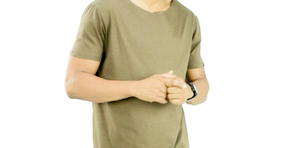 Camiseta Oversized Longline Gola Canoa Reta Simples Marrom