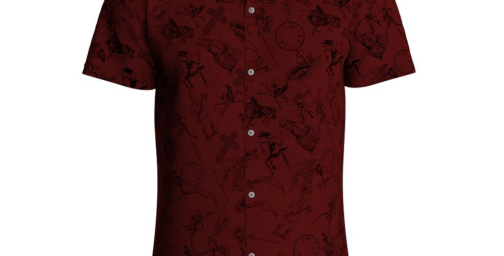 Camisa Estampa Total De Botão Manga Curta