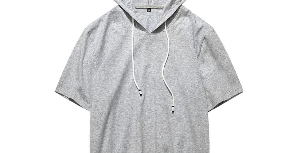 Blusão Camisa Básica Capuz com Cordão 100% Algodão Meio Swag Cinza