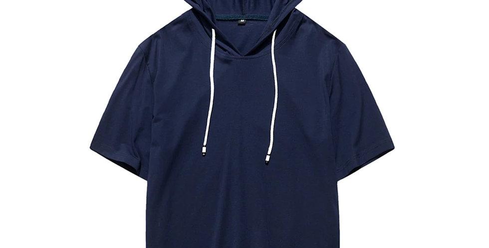 Blusão Camisa Básica Capuz com Cordão 100% Algodão Meio Swag Azul Marinho