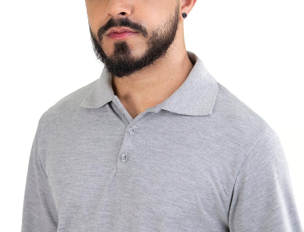 Camisa Polo Manga Longa Basica 100% Algodão Tradicional Cinza Claro