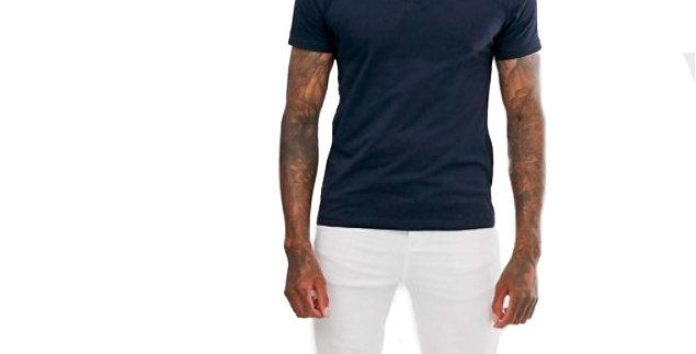 Camiseta Polo Masculina 100% Algodão Piquet Tradicional Azul Marinho