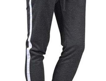 Calça Listrada Masculina Track Pants Moletom Cinza Escuro com Linha Branca