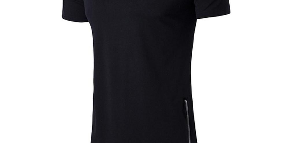 Camisa Longline Oversized Ziper Lateral Redonda Swag Bordada Preta