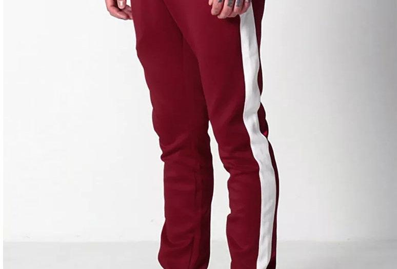Calça Track Pants Colegial Fitness Branco no Vermelho Escuro
