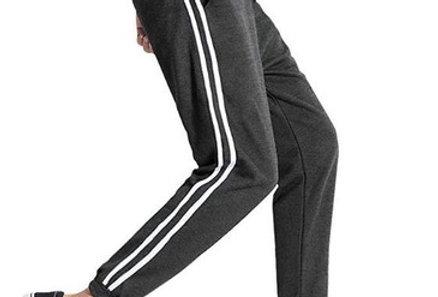 Calça Listrada Faixa Masculina Track Pants Colegial Moletom Cinza Escuro