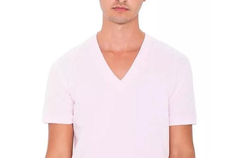 Camisa Básica Lisa Gola V Funda 100% Algodão Rosa