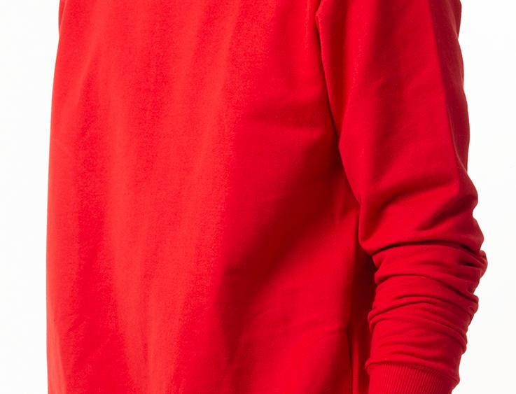 Moletom Careca  Básico Punho E Barra Em Ribana Vermelho